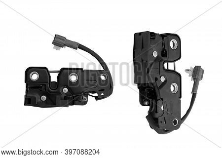 Electric Car Hood Closing Mechanism On A White Background