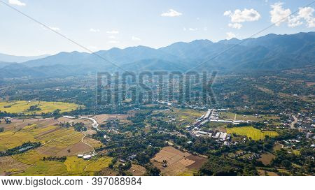 Top View Point Of Pai District Mae Hong Son Thailand. Pai Is A Small Town In Northern Thailand Mae H