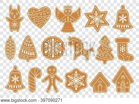 Set Of Gingerbread Christmas Cookies. Vector Illustration. Vector Xmas Bakery Collection Of Christma