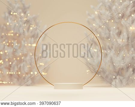 3d Podium Display, Christmas Background For Product Presentation Or Text.  Christmas Tree With Light