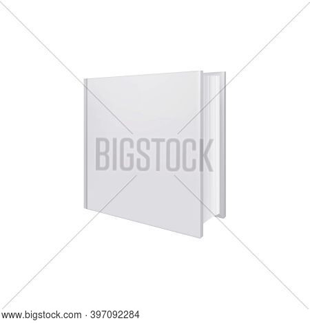Books Albums Mockup Realistic Composition With View Of Square Shaped Album Vector Illustration