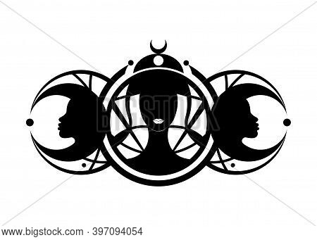 Triple Goddess, Beautiful Women, Symbol Of Moon Phases. Hekate, Mythology, Wicca, Witchcraft. Triple