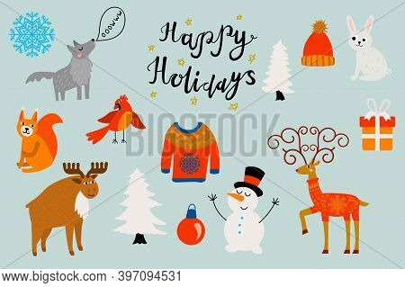 Cute Happy Holidays Set Of Elements In Childlike Flat Style. Cozy Sweater, Hat, Ball, Gift, Christma