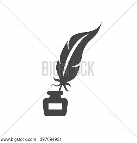 Quill Pen With Inkwell Black Vector Icon. Feather With Ink Bottle, Retro Or Antique Design Glyph Sym