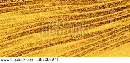 3d Render Of Golden Silk Cloth, Waves Of Golden Silk As Background
