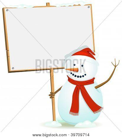 Santa Snowman Holding Wood Sign