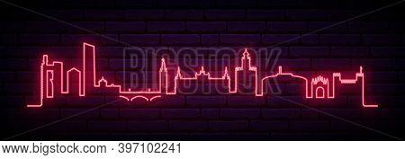 Red Neon Skyline Of Sevilla. Bright Sevilla City Long Banner. Vector Illustration.