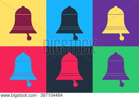 Pop Art Ringing Bell Icon Isolated On Color Background. Alarm Symbol, Service Bell, Handbell Sign, N