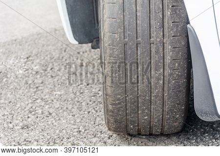 Badly Worn Out Car Tire Tread And Damaged Bulb Like Side Due To Wear And Tear Or Because Of Poor Tra