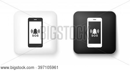Black And White Sos Call Icon Isolated On White Background. 911, Emergency, Help, Warning, Alarm. Sq
