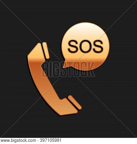 Gold Sos Call Icon Isolated On Black Background. 911, Emergency, Help, Warning, Alarm. Long Shadow S