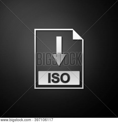 Silver Iso File Document Icon. Download Iso Button Icon Isolated On Black Background. Long Shadow St