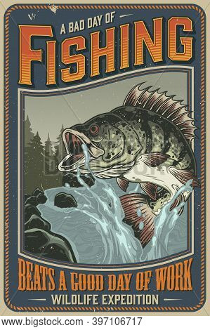 Fishing Vintage Poster With Big Perch And Water Splashes On Mountain River Landscape Vector Illustra