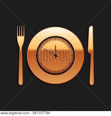 Gold Plate With Clock, Fork And Knife Icon Isolated On Black Background. Lunch Time. Eating, Nutriti