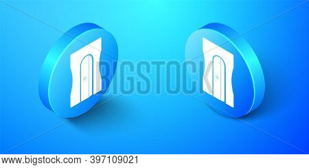 Isometric Pencil Sharpener Icon Isolated On Blue Background. Blue Circle Button. Vector