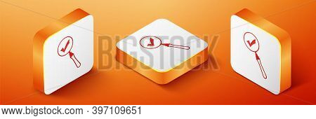Isometric Magnifying Glass And Check Mark Icon Isolated On Orange Background. Magnifying Glass And A