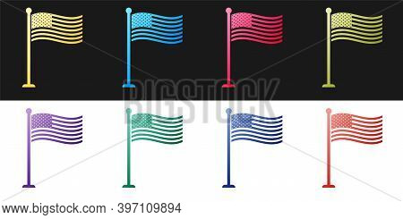 Set National Flag Of Usa On Flagpole Icon Isolated On Black And White Background. American Flag Sign