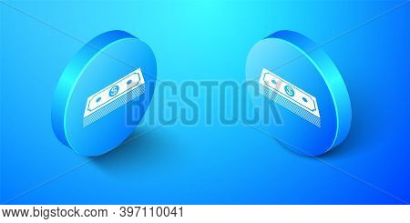 Isometric Paper Money American Dollars Cash Icon Isolated On Blue Background. Money Banknotes Stack