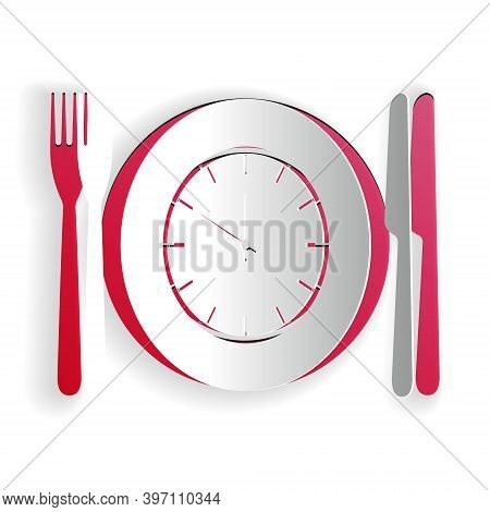 Paper Cut Plate With Clock, Fork And Knife Icon Isolated On White Background. Lunch Time. Eating, Nu