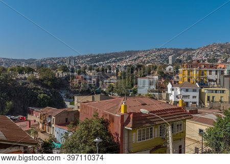 View From The City Hill Concepcion To The City Of Valparaiso, Chile