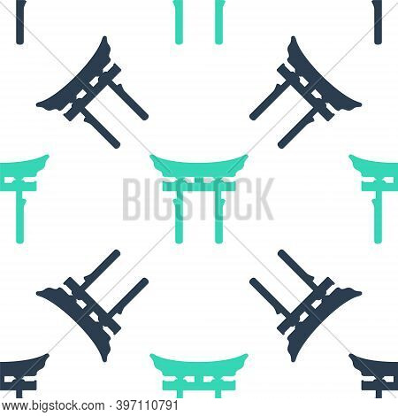 Green Japan Gate Icon Isolated Seamless Pattern On White Background. Torii Gate Sign. Japanese Tradi