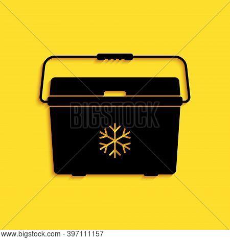 Black Cooler Bag Icon Isolated On Yellow Background. Portable Freezer Bag. Handheld Refrigerator. Lo