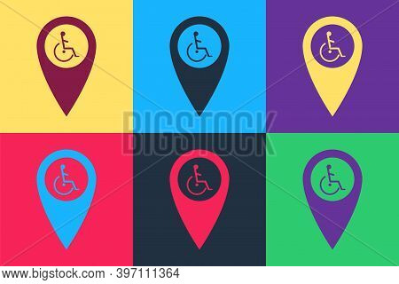Pop Art Disabled Handicap In Map Pointer Icon Isolated On Color Background. Invalid Symbol. Wheelcha