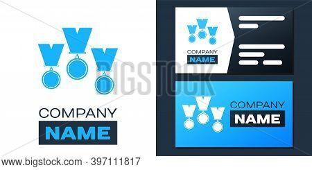 Logotype Medal Set Icon Isolated On White Background. Winner Simbol. Logo Design Template Element. V