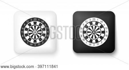 Black And White Classic Darts Board With Twenty Black And White Sectors Icon Isolated On White Backg