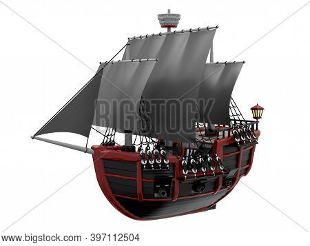 Wooden Black Pirate Cartoon Ship Isolated On White, 3d Illustration