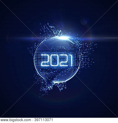 Happy New 2021 Year. Futuristic Glowing Neon Light Sphere With Bursting Light Rays. Vector Holiday I