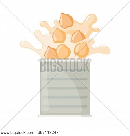 Vector Canned Chickpeas In Can Icon In Flat Style Isolated On White.