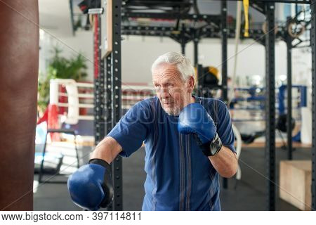 Senior Man Training With A Punching Bag. Older Concentrated Man Boxing Punching Bag At Gym. People,