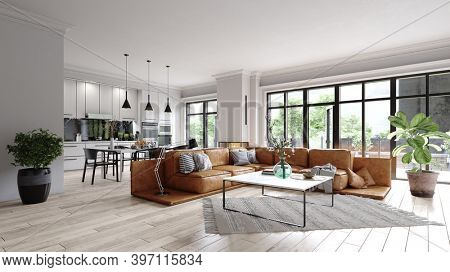 modern living room interior. 3d design illustration