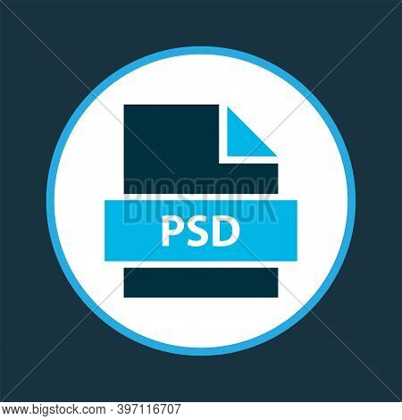 File Psd Icon Colored Symbol. Premium Quality Isolated Photoshop Element In Trendy Style.