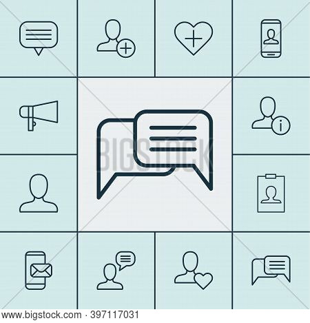 Communication Icons Set With Add, Unread Letter, Private Info And Other Connect Elements. Isolated V