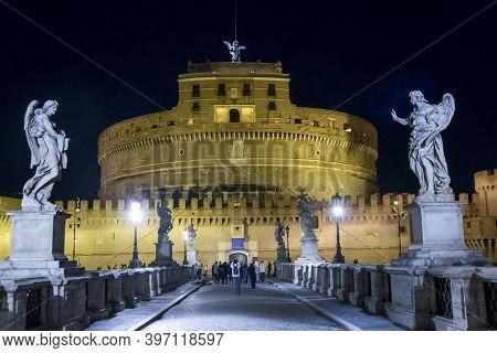 Rome, Italy - 04/11/2018: The Saint Angelo Castle In Rome Illuminated At Night
