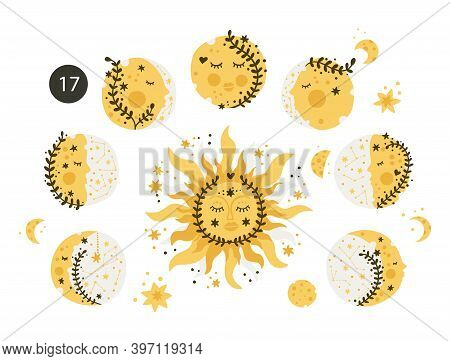 Moon And Sun Vector Kids Design. Moon Phase Lovely Kid Print. Cute Esoteric Cosmosm Shape. Astronomy