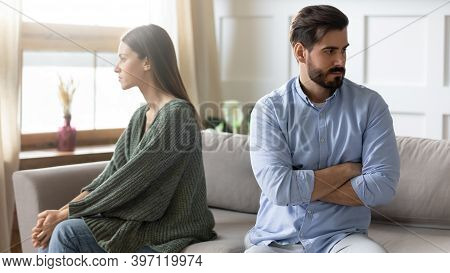 Unhappy Couple Sit Separate Avoid Talking After Fight