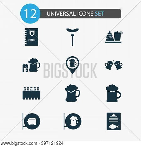 Alcohol Icons Set With Beer, Ale Sign, Case Of Beer And Other Ale Box Elements. Isolated Illustratio