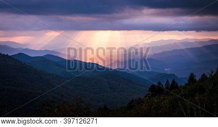 Sun Beams Light The Blue Ridge Parkway In North Carolina