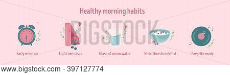 Healthy Morning Habits Icon Collection. Daily Routine. Tracker Stickers. Early Wake Up, Light Exerci