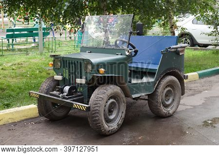Vintage Handmade 4x4 Off Road Truck Vehicle At The City Road