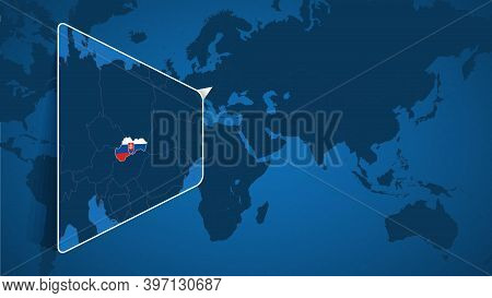 Location Of Slovakia On The World Map With Enlarged Map Of Slovakia With Flag. Geographical Vector T