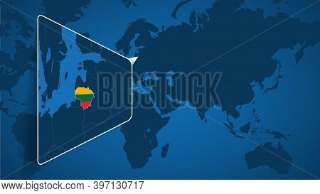 Location Of Lithuania On The World Map With Enlarged Map Of Lithuania With Flag. Geographical Vector