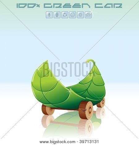 Organic, Green Car. Go Green Vector Background