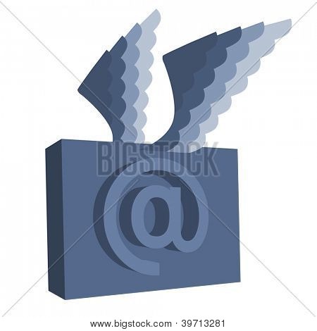 Email symbol with wings. poster