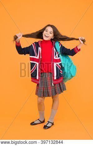 English Kid Backpack. British Education Program. Learn Foreign Language. Little Girl Wear School Uni