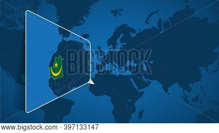 Location Of Mauritania On The World Map With Enlarged Map Of Mauritania With Flag. Geographical Vect