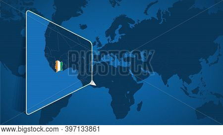 Location Of Ivory Coast On The World Map With Enlarged Map Of Ivory Coast With Flag. Geographical Ve